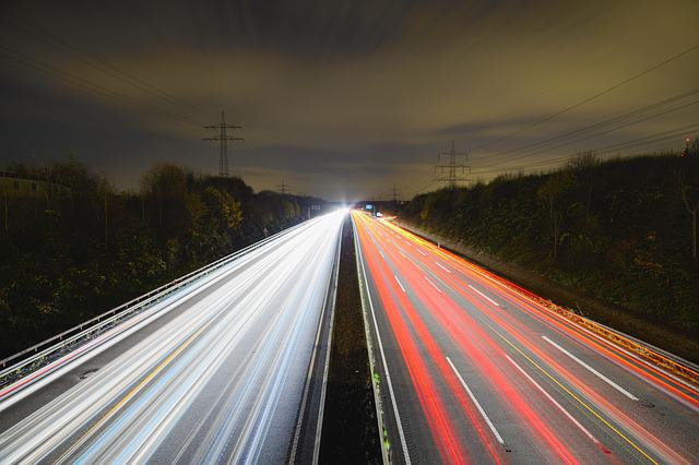 Highway, Night, Long Exposure, Traffic, Lights