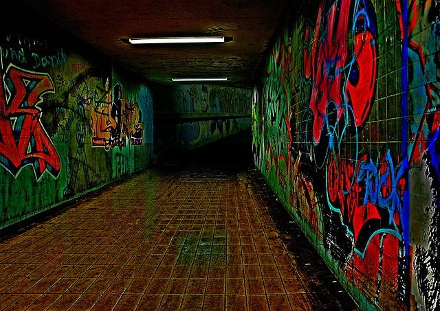 Graffiti, Night, Underpass, Color, Neon Light, Alone