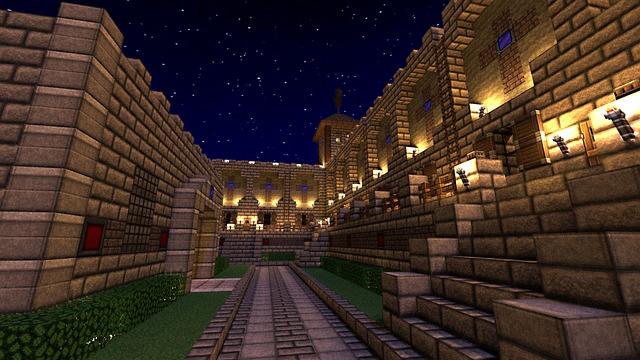 Minecraft, Castle, Night, Illuminated, Video Games