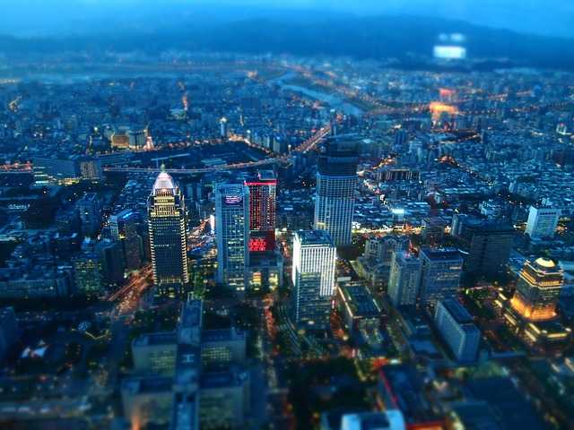 Taiwan, Taipei, Night View, City, Diorama