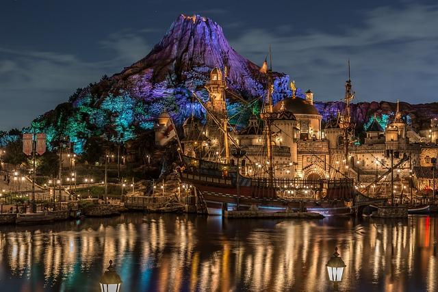 Disney, Disney Sea, Night View, Light, Brilliant, Japan