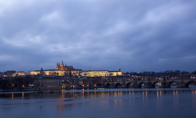 Prague, Czech Republic, Prague Castle, Night View