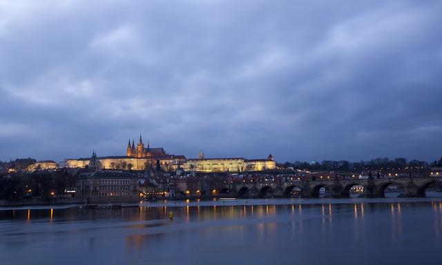 Prague, Czech Republic, Prague Castle, Night View