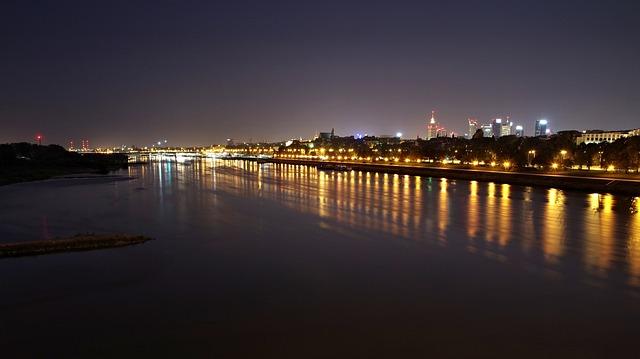 Warsaw, Wisla, Night, Light, City, Water, The Darkness