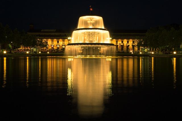 Fountain, Water, Wiesbaden, Night, Long Term, Exposure