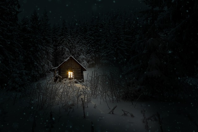 Cabin, Winter, Night, Snow, Cold
