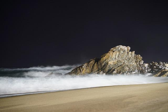 Night, Night-time, The Night Sea, Landscape, Rock, Sea
