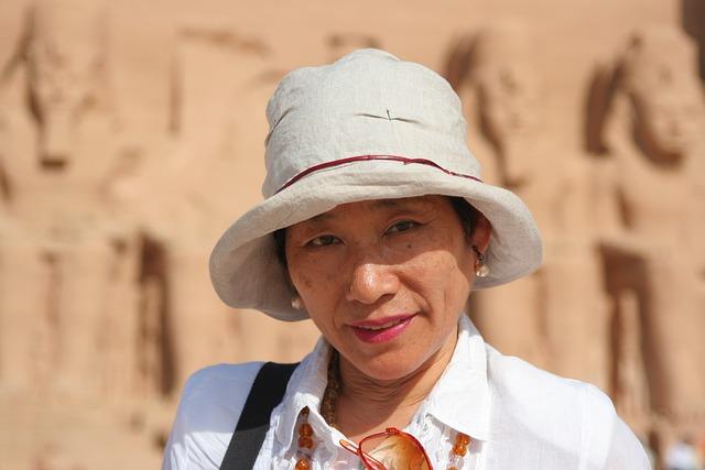 Japanese, Woman, Egypt, Aswan, Abu Simbel, Nile, River