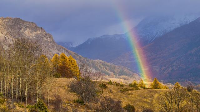 Nature, Rainbow, No Person, Landscape, Sky, Valley