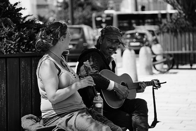 Couple, Duo Musical, Flute, Noir Et Blanc