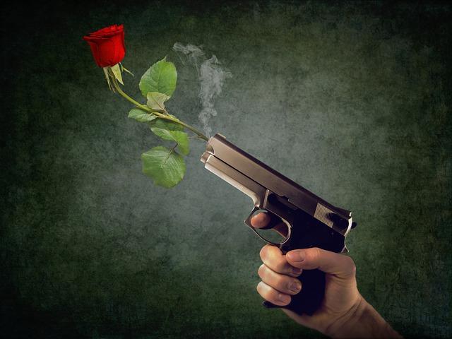 Peaceful, Non-violent, Rose, Hand, Weapon, Gun, Pistol