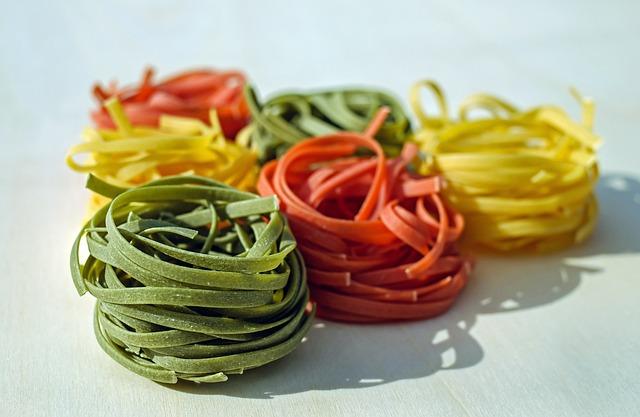 Noodles, Tagliatelle, Raw, Colorful, Food