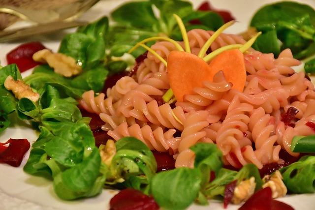 Beetroot, Lamb's Lettuce, Noodles, Pasta Salad