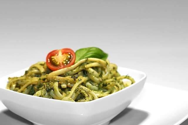 Pesto, Bowl, Spaghetti, Noodles, Basil, Parmesan
