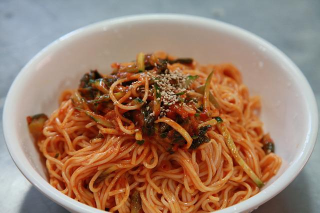 Korean Food, Bibim Guksu, Noodles, Spicy Noodles