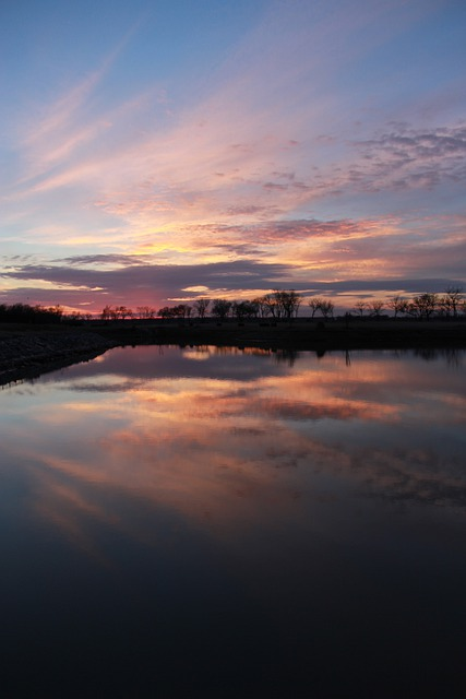 Sunset, Clouds, Sky, Water, Reflection, Nature, Norman