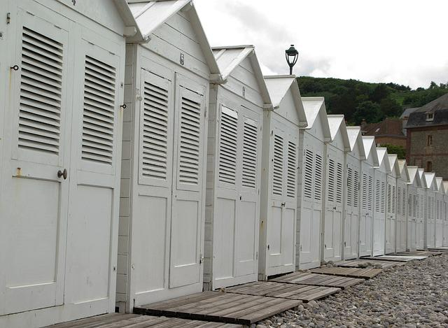 France, Normandy, Etretat, Beach, Bathing Huts