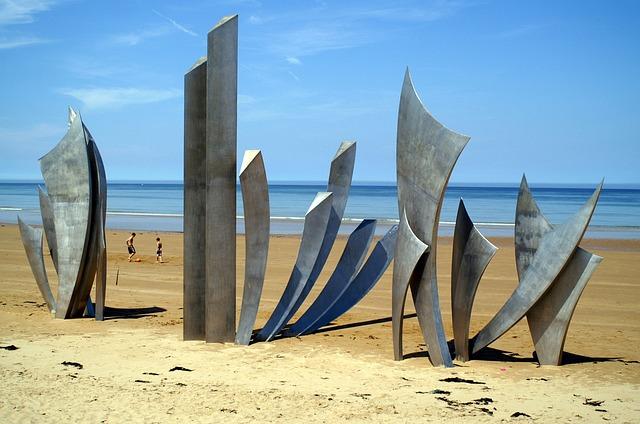 France, Normandy, Omaha Beach, Beach, Coast, Monument