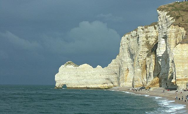 Cliff, Normandy, Etretat, Landscape, France, Sky, Beach