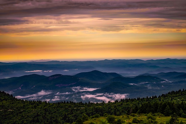 North Carolina, Mountains, Sunrise, Daybreak, Fog, Sky