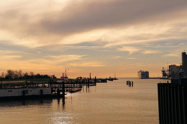 Port, Emden, East Frisia, North Sea, City, Sunset