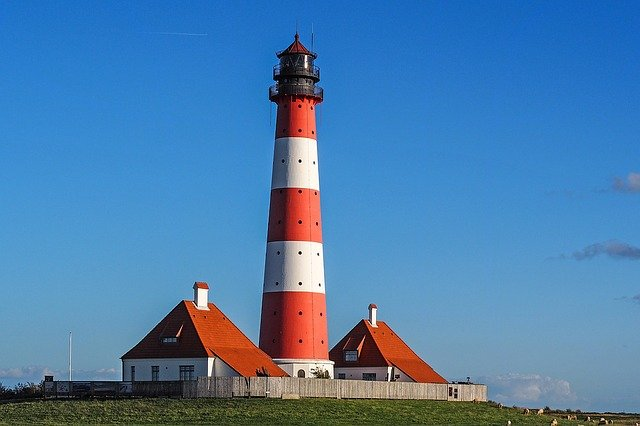 Lighthouse, Westerhever, Wadden Sea, North Sea
