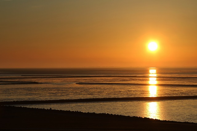 Sunset, Wadden Sea, North Sea, Watts, Evening Sky