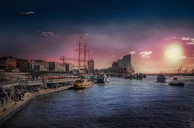 Landungsbrücken, Port Of Hamburg, Northern Germany