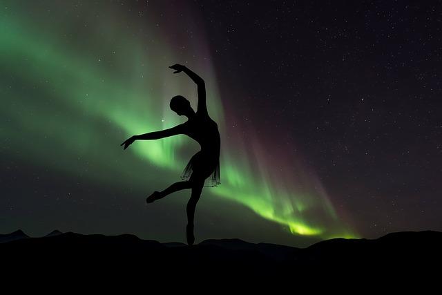 Silhouette, Ballerina, Northern Lights, Dance