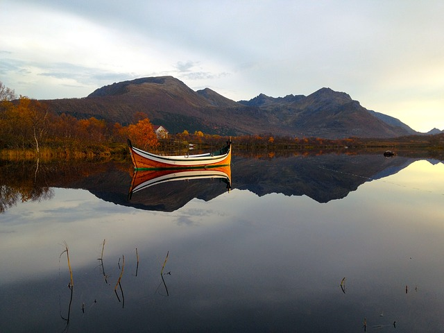 Boat, Water, Sunset, Northern Norway, Landscape