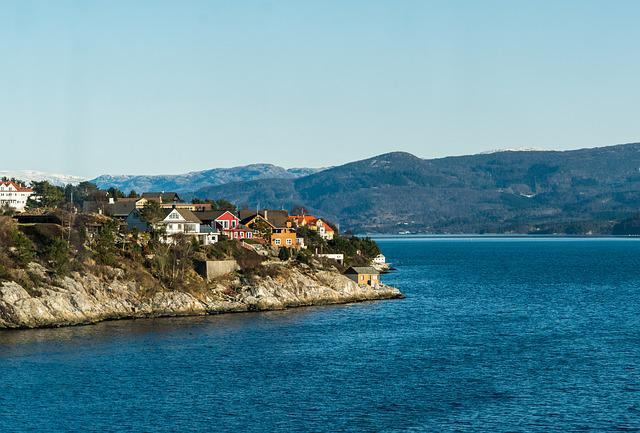 Norway, Coast, Architecture, Mountains, Rocky