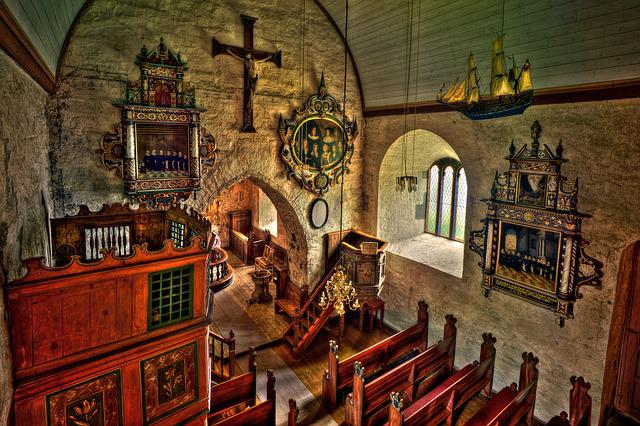 Church, Religion, Indoors, Art, Dale, Luster, Norway