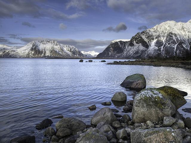 Norway, Lofoten, Sea, Mountain, Stones