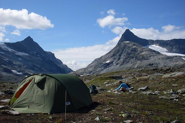 Jotunheimen, Mountain, Norway, Tent, Falketind