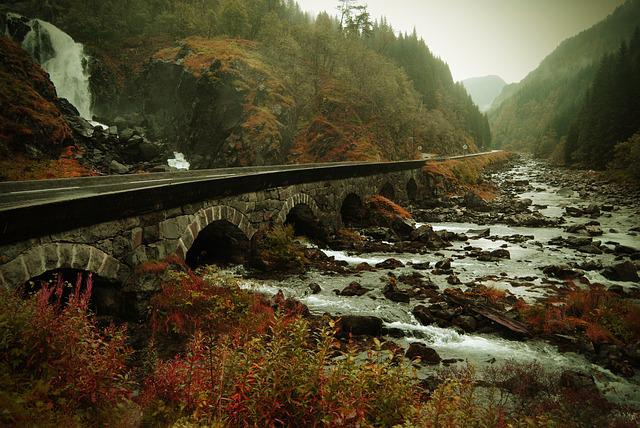 Norway, Autumn, The Nature Of The, Waterfall, Landscape