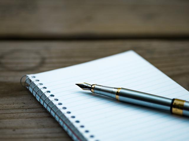 Fountain Pen, Note, Notebook, Page, Paper, Pen