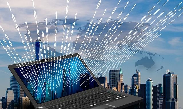 New York, Skyline, Laptop, Monitor, Binary, One, Null