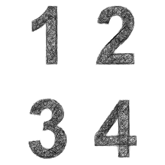 Number, 1, 2, 3, 4, Font, Sketch, Sign, Symbol, One