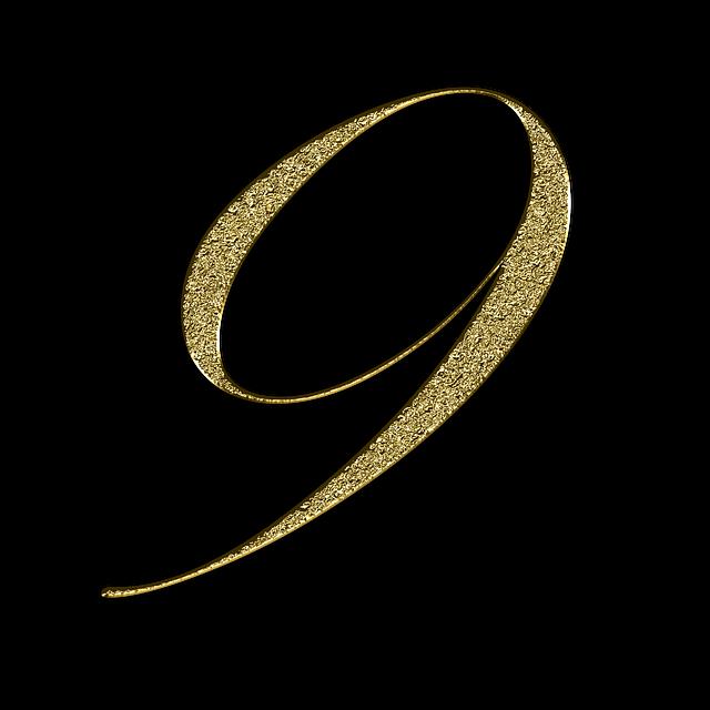 Number, 9, Gold, Font, Training, Nine, Learn, Golden