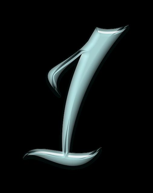 Numbers, Bevel, Aqua, Glass, Blue, 1, One