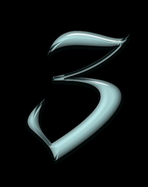 Design, Numbers, Bevel, Aqua, Glass, Blue, 3, Three