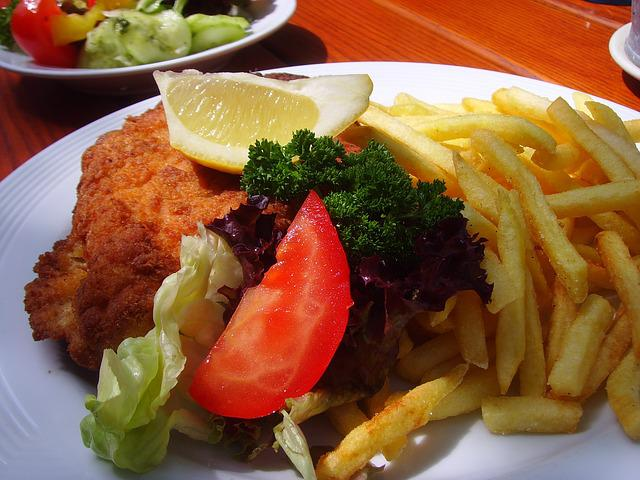 Schnitzel, French, French Fries, Meal, Eat, Nutrition