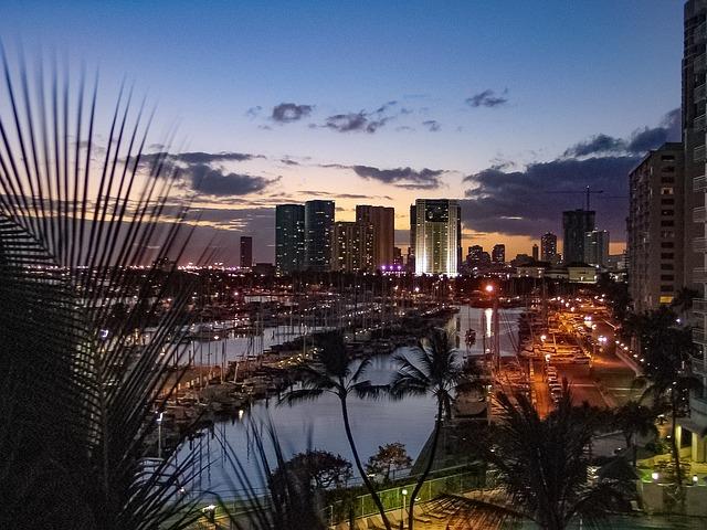 Oahu, View, Marina, Resort, Dusk, Hawaii, Evening