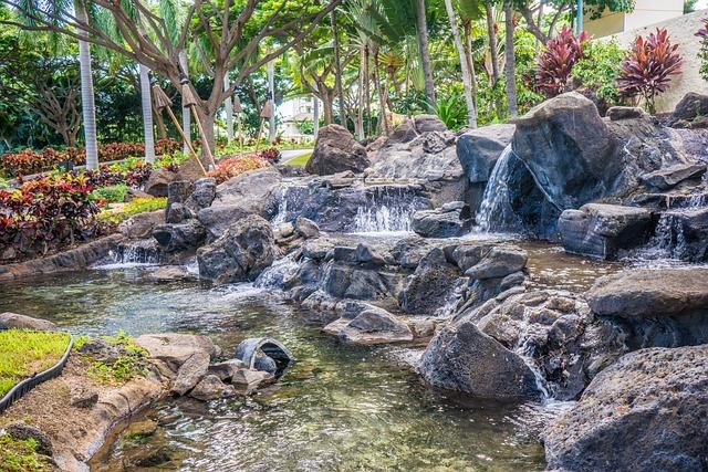 Hawaii, Oahu, Waterfall, Ko Olina, Marriott, Resort
