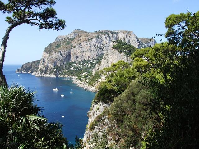 Sea, Coast, Coastline, Trees, Ocean, Amalfi Coast