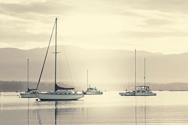 Anchored, Boats, Ocean, Nautical, Sailboat