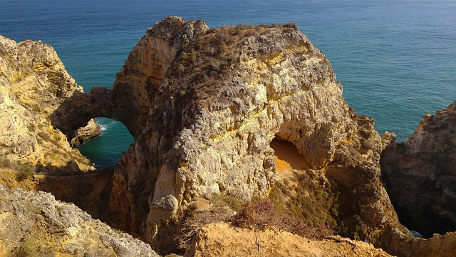 Portugal, Lagos, Cliffs, Ark, Ocean