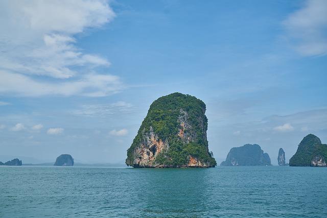Island, See, Ocean, Water, Sky, Clouds, Blue, Green