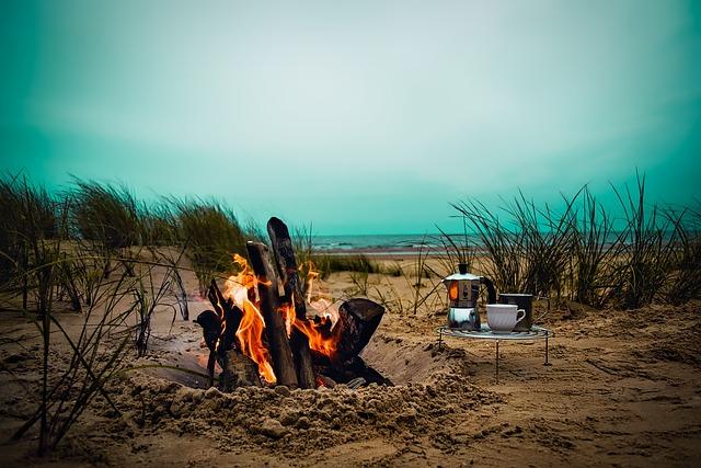 Sea, Ocean, Sunset, Dusk, Sky, Clouds, Campfire
