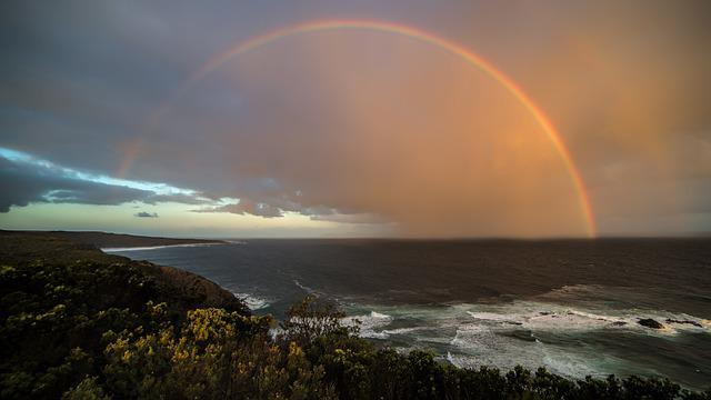 Rainbow, Coast, Sunset, Beach, Sky, Sea, Ocean, Travel
